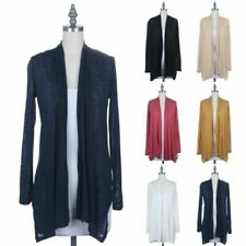 Women's Rayon Open Front Draped Cardigan Long Sleeve Ruched Back Casual S M L