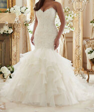 New White/ivory Mermaid Wedding Dress Bridal Gown Plus Size 12-14-16-18-20-22-24