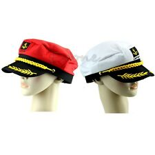 Adult Fancy Dress Costume Peaked Skipper Navy Captain Boating Sailor Hat Cap New