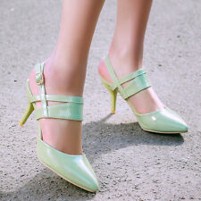 Womens Pointy Toe High Heel Slingbacks Pumps Buckle Patent Party Shoes Plus size