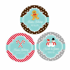 Custom Personalized Round Winter Wedding Party Favor Labels Stickers Q21115