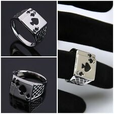 Fashion Mens Womens Silver Ace of Spades Casino Poker Card Ring