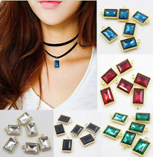 10Pcs Crystal Glass Charm Rectangle Necklace Pendant Jewelry Making DIY