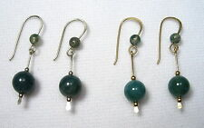 Lyns Jewelry Moss Agate Drop Earrings Silver or Gold