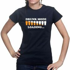 Drunk Mode Drinking Game Party Beer Glass Mug Cup Ladies T shirt Tee T-shirt Top
