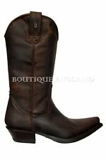 NEWROCK New Rock 7800 Brown Plain Flame Devil Leather Boot Goth Biker Rock Boots