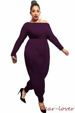 Plus Size Off-shoulder Elegant Women Jumpsuits Women Casual Loose Rompers Purple