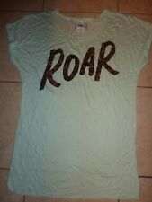 "VICTORIAS SECRET PINK APPLIQUE ""ROAR""""PINK"" CUFFED SCOOPNECK CREW TEE NWT"