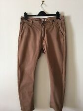 LUKE 1977 Black Country Overalls Brown Trousers with Braces - Size 34