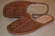 Mens Tan Suede Leather Slippers Sandal Shoes Handmade In Poland Slip On Soft New
