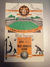 1957 FA CUP SEMI FINAL PROGRAMME  ASTON VILLA v WEST BROMWICH : Molineux Wolves