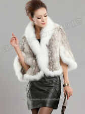 100% Real Knitted Mink Fur Fox Collar Stole Coat Shawl Cape Scarf Fashion White