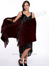 100% Real Knitted Mink Fur Scarf Cape Shawl Stole Women Winter Fashion Evening