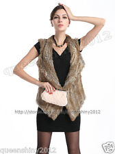 NEW!100% Real Knitted Rabbit Fur Vest Gilet Waistcoat Sweater Coat Fashion Brown