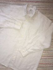 TOMMY BAHAMA 100% Linen Ivory Long-Sleeve Button-front Lounge Shirt Large
