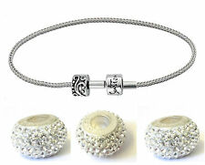 *NEW* Rhona Sutton 925 Sterling Silver charm bracelet with shamballa charm beads