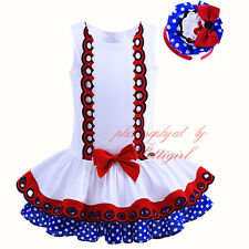 Girls Tutu Party Dress +Headband Princess Pageant Polka Dot Layered Skater Skirt