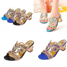 New Womens Rhinestone shoes Hollow out high heel peep toe Slippers Mules sandals