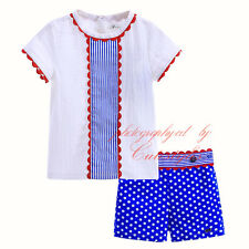 Baby Boys Outfit Infant Clothes Toddler White T-shirt Top + Spotted Shorts Set