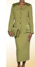 Lady's 2 Piece Dress Suit, comes with Jacket and Long  Skirt, Olive Color #L391