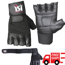 Gym Weight Lifting Gloves Long Wrap Leather Gloves Fitness Strength Training bar