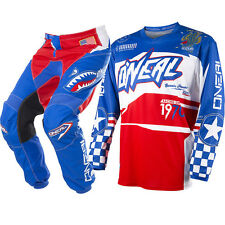 Oneal 2017 NEW Mx Element Jersey Pants Afterburner Blue Red Motocross Gear Set