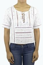White Lace Up Eyelet Lace Short Sleeve Summer Trendy Top Blogger