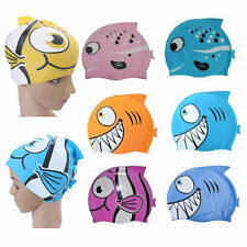Fresh Silicone Kids Children Swimming Cap Hat Fish Print Swimming Cap Swim Hat