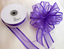 Pull Bow Ribbon Purple Satin Edge Organza 25mm wide  5, 10 and 20 Mtrs