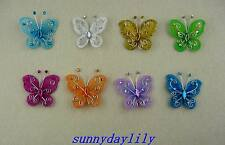"24pc Multi-color Nylon Stocking Butterfly Wedding Decorations 2"" Free Shipping"