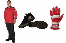 G Force Racing Novice Race Kit Includes:1lyr Race Suit,Shoes & Gloves Red/Black