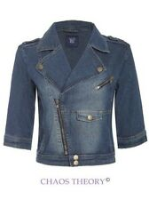 Ladies Womens 3/4 Sleeve Jacket Cropped Biker Light Wash Denim Coat