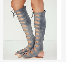 Leather Sandal Gladiator Womens Lace Up Knee High Boot Open Toe Shoes All US Sz