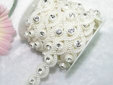 20mm Cross White Pearl With Rhinestone Chain Trims Sewing Costume Applique LZ84