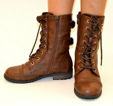 Girls kid Military Combat Lace Up Buckle Boots Zipper Roundtoe Low Heel Mid Calf