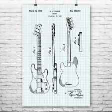 Fender Bass Guitar Poster Vintage 1953 Patent Print Wall Art Music Gift Decor