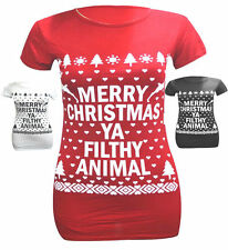 L99 WOMENS  MERRY CHRISTMAS YA FILTHY ANIMAL Ladies GIRLS XMAS NOVELTY T SHIRT
