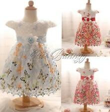 Flower Baby Girl Princess Infant Baptism Christening Gown Wedding Birthday Dress