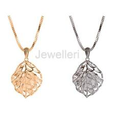 Elegant Hollow Out Leaf Pendant Necklace with Damante Inside Sweater Chain
