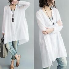 Tops summer womens  Ladies Loose Cotton Long Shirt Blouse Linen Dress one size