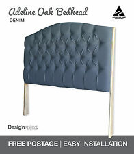 ADELINE OAK Upholstered Bedhead / Headboard for Ensemble Bed - Denim