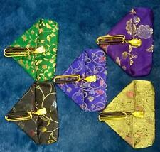 Colourful unusual Oriental embroidered silk / sateen Coin Purse Luck Frog / Toad