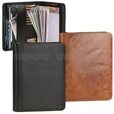 A4 Conference Folder real Leather 4 Ring Binder Zipped Business Documents