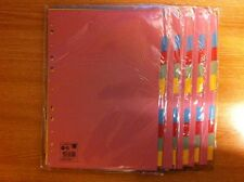 10 Sets of 10 Part Coloured Dividers, Tabbed Index with Multicoloured Tabs
