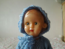 Vintage plastic Baby Doll with Knitted clothes outfit old