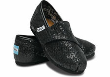 TOMS Tiny Toddler Black Glitter Classics All Sizes Available BNIB