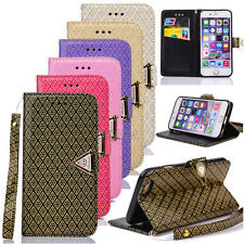 New Gold Embossing Leather Card Pocket Wallet Case Cover For Apple iPhone Series
