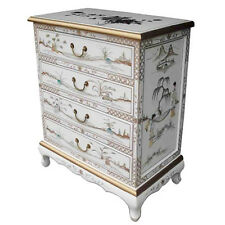 MOTHER OF PEARL ORIENTAL FURNITURE - WHITE LACQUER CHEST OF 4 DRAWERS