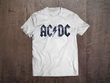 AC/DC Graphic Men White T-shirt Rock Band Fruit of the Loom Tee Shirt Size S-XXL