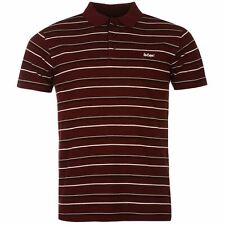 Lee Cooper Mens Striped Polo Shirt Burgundy/White/Black New With Tags